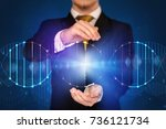 businessman with dna concept in ... | Shutterstock . vector #736121734