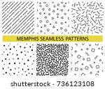 memphis seamless patterns  ... | Shutterstock .eps vector #736123108