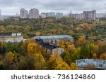 fall colors of park foliage in... | Shutterstock . vector #736124860