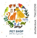 pet shop round composition with ... | Shutterstock .eps vector #736125250