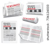 set of newspaper icons on white ... | Shutterstock .eps vector #736126033