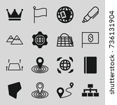 map icons set. set of 16 map... | Shutterstock .eps vector #736131904