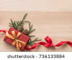 christmas gift box present on... | Shutterstock . vector #736133884