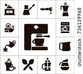 coffee shop accessories and... | Shutterstock .eps vector #736139968