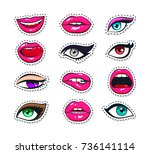 vector stickers kit of female... | Shutterstock .eps vector #736141114