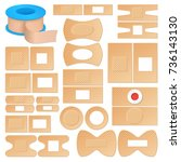 set of realistic adhesive... | Shutterstock .eps vector #736143130