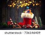 christmas red boot  santa boot...   Shutterstock . vector #736146409