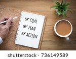new year 2019 goal plan action... | Shutterstock . vector #736149589