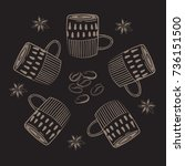 coffee cups. circle concept... | Shutterstock .eps vector #736151500