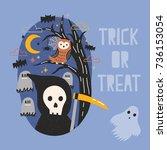 halloween banner with grim... | Shutterstock .eps vector #736153054