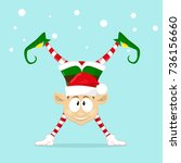 cute and funny character merry... | Shutterstock .eps vector #736156660