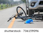accident car crash with bicycle ... | Shutterstock . vector #736159096