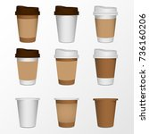 3d blank paper coffee cup... | Shutterstock .eps vector #736160206