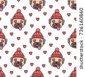 seamless pattern with dog breed ... | Shutterstock .eps vector #736160860