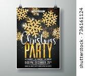 vector merry christmas party... | Shutterstock .eps vector #736161124