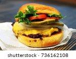 cheeseburger close up. fresh...   Shutterstock . vector #736162108