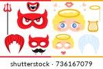 angel and devil. printable... | Shutterstock .eps vector #736167079