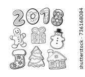 set of homemade gingerbread... | Shutterstock .eps vector #736168084