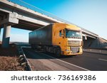 truck on the road freight... | Shutterstock . vector #736169386