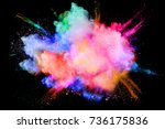 colorful  powder explosion on... | Shutterstock . vector #736175836