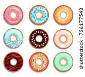 donuts with cream and chocolate.... | Shutterstock .eps vector #736177543