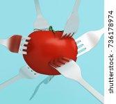 creative concept   red tomato...   Shutterstock . vector #736178974