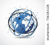 global network connection.... | Shutterstock .eps vector #736181128
