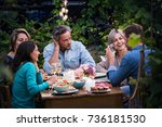 group of friends gathered... | Shutterstock . vector #736181530