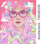 vector beautiful girl with pink ... | Shutterstock .eps vector #736183150