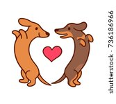 cute cartoon dachshunds in love ... | Shutterstock .eps vector #736186966