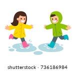 cute cartoon boy and girl in... | Shutterstock .eps vector #736186984