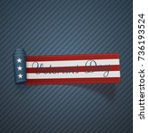 veterans day realistic scroll... | Shutterstock .eps vector #736193524