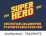 superhero font. 3d vintage... | Shutterstock .eps vector #736196473