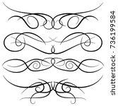 set of vintage decorative curls ... | Shutterstock .eps vector #736199584