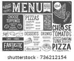 pizza food menu for restaurant... | Shutterstock .eps vector #736212154