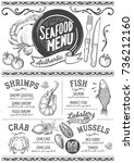seafood menu for restaurant and ... | Shutterstock .eps vector #736212160