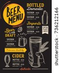 beer drink menu for restaurant... | Shutterstock .eps vector #736212166