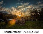 three barrels of wine in yard.... | Shutterstock . vector #736215850