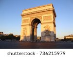 arc de triomphe early on an... | Shutterstock . vector #736215979