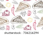 hand drawn doodle food... | Shutterstock .eps vector #736216294