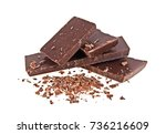 broken chocolate bars and... | Shutterstock . vector #736216609