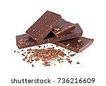 broken chocolate bars and... | Shutterstock . vector #736216609