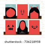 set of vector happy halloween... | Shutterstock .eps vector #736218958