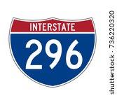 interstate highway 296 road sign | Shutterstock .eps vector #736220320