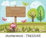 wooden board over cute nature... | Shutterstock .eps vector #73622143