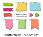 hand drawn cartoon vector set... | Shutterstock .eps vector #736224424