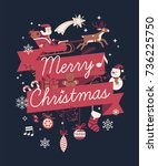 lovely vector 'merry christmas' ... | Shutterstock .eps vector #736225750