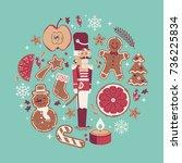 "lovely round shaped ""merry... | Shutterstock .eps vector #736225834"