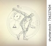 wireframe polygon man is... | Shutterstock .eps vector #736227604