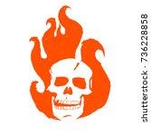 skull in fire. the burning head ...